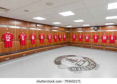 Manchester, England - December 11, 2017: Manchester United Dressing Room (Old Trafford)