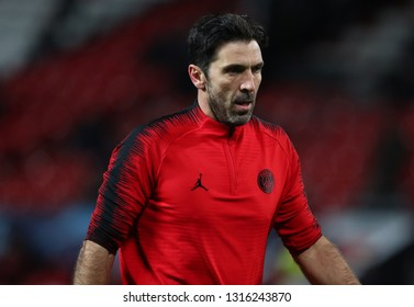 MANCHESTER, ENGLAND - FEBRUARY 12 2019: Gianluigi Buffon of PSG during the Champions League match between Manchester United and Paris Saint-Germain at Old Trafford Stadium.