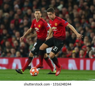 MANCHESTER, ENGLAND - FEBRUARY 12 2019: Ander Herrera of Manchester United during the Champions League match between Manchester United and Paris Saint-Germain at Old Trafford Stadium.