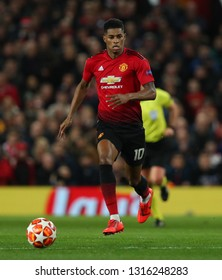 MANCHESTER, ENGLAND - FEBRUARY 12 2019: Marcus Rashford of Manchester United during the Champions League match between Manchester United and Paris Saint-Germain at Old Trafford Stadium.