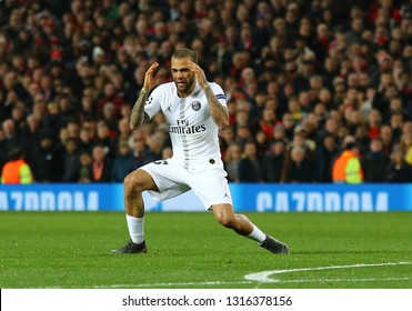 MANCHESTER, ENGLAND - FEBRUARY 12 2019: Dani Alves during the Champions League match between Manchester United and Paris Saint-Germain at Old Trafford Stadium.