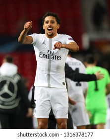 MANCHESTER, ENGLAND - FEBRUARY 12 2019: Marquinhos of PSG during the Champions League match between Manchester United and Paris Saint-Germain at Old Trafford Stadium.