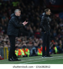MANCHESTER, ENGLAND - FEBRUARY 12 2019: Ole Gunnar Solskjaer Manager of Manchester United during the Champions League match between Manchester United and Paris Saint-Germain at Old Trafford Stadium.