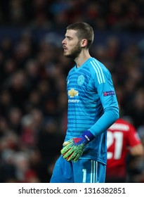 MANCHESTER, ENGLAND - FEBRUARY 12 2019: David De Gea of Manchester United during the Champions League match between Manchester United and Paris Saint-Germain at Old Trafford Stadium.