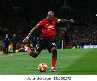 MANCHESTER, ENGLAND - FEBRUARY 12 2019: Ashley Young of Manchester United during the Champions League match between Manchester United and Paris Saint-Germain at Old Trafford Stadium.