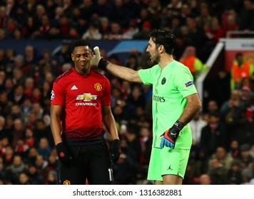 MANCHESTER, ENGLAND - FEBRUARY 12 2019: m11\and Gianluigi Buffon of PSG during the Champions League match between Manchester United and Paris Saint-Germain at Old Trafford Stadium.