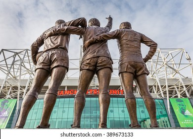 Manchester, England - February 27, 2016: The east stand of Old Trafford football stadium, home of Manchester United.Old Trafford is the second largest stadium of any English football ground.