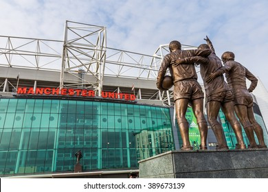 Manchester, England - February 27, 2016: To celebrate the 40th anniversary of United's first European Cup title, a statue of the club's holy trinity of George Best, Denis Law and Bobby Charlton