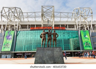 Manchester, England - February 27, 2016: The east stand of Old Trafford football stadium, home of Manchester United. With a capacity of 76,000 spectators.