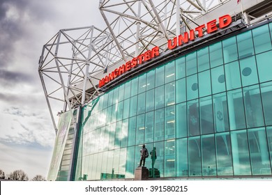 Manchester, England - February 28, 2016: The east stand of Old Trafford football stadium, home of Manchester United with space for 75,957 spectators.