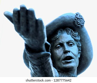 Manchester, England - January 17 2019: Emmeline Pankhurst suffragette bronze statue in St Peter's Square showing face and hand outstretched towards viewer. Unveiled Dec 14 2018.