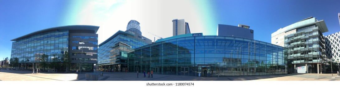 MANCHESTER, ENGLAND - June 24th, 2018: Media City on June 24th, 2018 in Manchester, England. Media City in Salford is the new home for the BBC studios for TV and radio broadcasting in Great Britain.