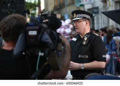 Manchester, England. May 26th, 2017. Chief of Police, Ian Hopkins, holds an interview at St Ann's square concerning the events surround the Manchester bombing.