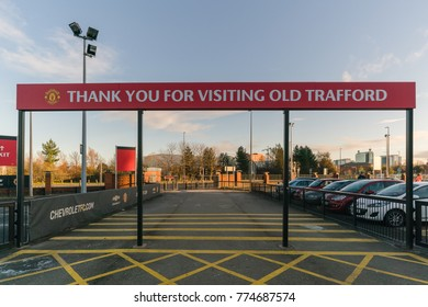 MANCHESTER, ENGLAND - NOVEMBER 29. Old Trafford stadium on NOVEMBER 29, 2017 in Manchester, England. Old Trafford is home of Manchester United football club