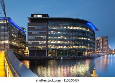 MANCHESTER, ENGLAND - OCT 2: Media City on October 2nd, 2012 in Manchester, England.The location for the new BBC terrestrial broadcasting studios for TV and radio in the UK.