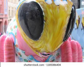 Manchester, England: September 2018 -  Bee in the City - The Manchester Bee sculptures, 37 Hilda Budgen,  King Street, Manchester
