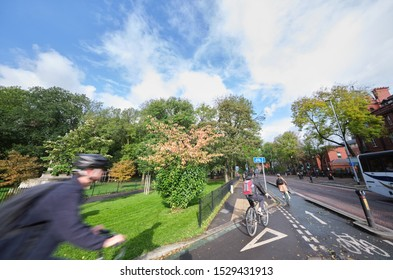 Manchester, England, UK - 10/09/2019: University students using cycle lane near Whitworth park, Oxford road Manchester (UK)