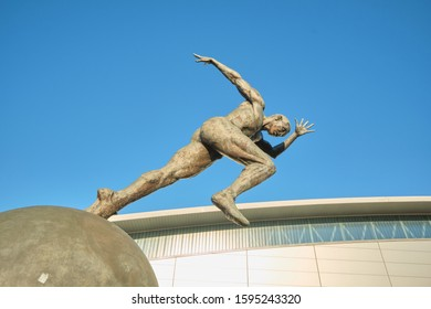 Manchester, England, UK - 12/04/2019: Commonwealth games statue (c2002). Central Manchester, UK.