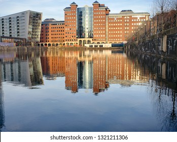 Manchester, England / United Kingdom - 21 February 2019:  modern buildings and facilities in Salford and Trafford, MediaCityUK