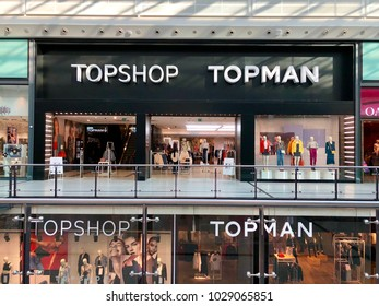 MANCHESTER - FEBRUARY 20, 2018: Topshop and Topman, a British multinational fashion retail store, at The Manchester Arndale shopping centre in Manchester, England, UK.