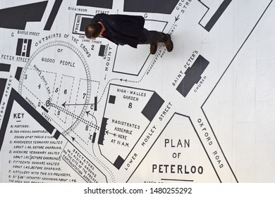 Manchester Greater Manchester UK August 16 2019  200th anniversary of Peterloo massacre Map of locations and route on floor of john rylands library entrance aerial view