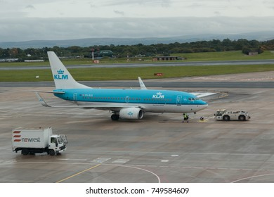MANCHESTER, LANCASHIRE, UK - September 3, 2017: Boeing 737, PH-BGK, operated by carrier KLM, is pushed back  at Manchester  Airport prior to take off