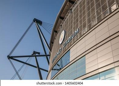 Manchester, Lancs / UK - 11 01 2018: Etihad Stadium, Manchester City football ground exterior with clear blue sky