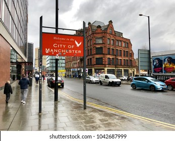 MANCHESTER - MARCH 10, 2018: Public sign welcoming people to the City of Manchester, Northern England, UK.