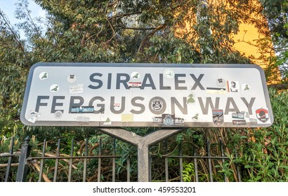 MANCHESTER - MAY 22: Sir Alex Ferguson way sign on outdoor way to Old Trafford stadium in Manchester city, England, on May 22, 2016.