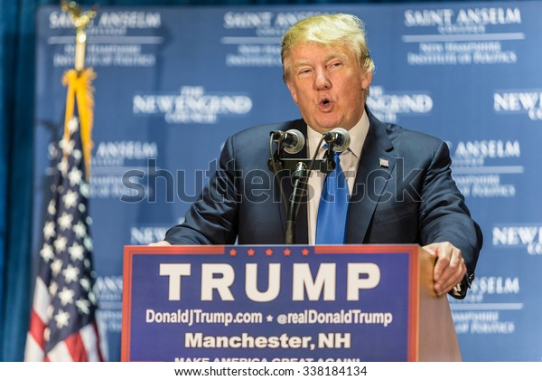 Manchester, New Hampshire - November 11, 2015: Donald Trump speaks to supporters