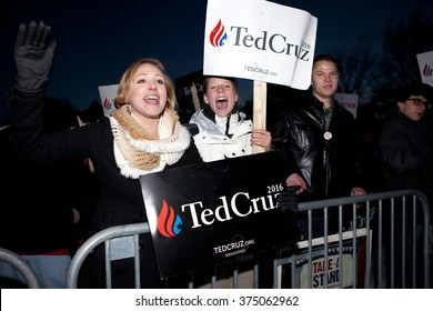 MANCHESTER, NH - FEBRUARY 6: Supporters for Presidential Candidate Ted Cruz cheer to traffic passing  Saint Anslem College prior to the Republican Primary Debate on February 6, 2016 in Manchester, NH.