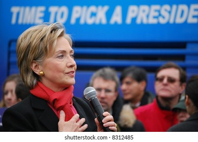 """MANCHESTER, NH – JAN 8: Senator Hillary Clinton  with text """"time to pick a president"""" campaigning to become the Democratic presidential candidate on January 8, 2008, in Manchester, New Hampshire."""