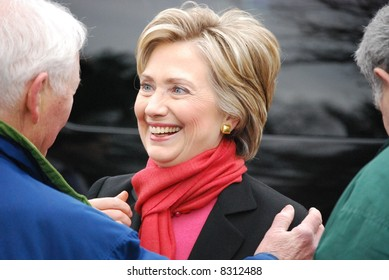 MANCHESTER, NH – JAN 8: Senator Hillary Clinton talking to supporters and campaigning to become the Democratic party presidential candidate on January 8, 2008, in Manchester, New Hampshire.