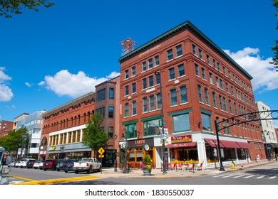 MANCHESTER, NH, USA - AUG. 29, 2019: Historic commercial buildings on Elm Street at Amherst Street in downtown Manchester, New Hampshire NH, USA.
