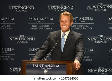 Manchester, N.H., USA, March 16, 2018. U.S. Sen. Jeff Flake, R-Ariz., criticizes President Donald Trump during a speech to The New England Council and New Hampshire Institute of Politics.