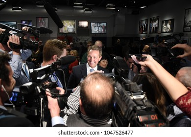 Manchester, N.H., USA, March 16, 2018. U.S. Sen. Jeff Flake, R-Ariz., talks to reporters after a speech to The New England Council and New Hampshire Institute of Politics.