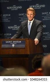 Manchester, N.H., USA, March 16, 2018. U.S. Sen. Jeff Flake, R-Ariz., criticizes President Donald Trump during a speech at St. Anselm College's Institute of Politics.