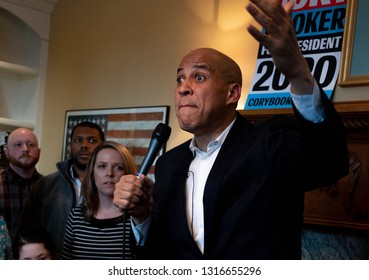 Manchester, N.H./USA - Feb. 17, 2019: U.S. Sen. Corey Booker, D-N.J., speaks to voters at a house party during his first visit to New Hampshire as a presidential candidate.