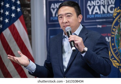 Manchester, N.H./USA -- Jan. 8, 2020: Andrew Yang speaks in a craft brewery during the New Hampshire presidential primary.