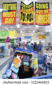 "Manchester, N.H./USA - June 25, 2018: Shoppers hunt for bargains in the final days of Toys R Us' ""going out of business"" sale."