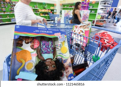 """Manchester, N.H./USA - June 25, 2018: Shoppers hunt for bargains in the final days of Toys R Us' """"going out of business"""" sale."""