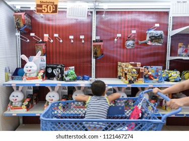 "Manchester, N.H./USA - June 25, 2018: A boy in a shopping cart looks at stuffed animals during the final days of Toys R Us' ""going out of business"" sale."