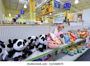Manchester, N.H./USA - June 25, 2018: Stuffed animals line the shelves at a Toys R Us in its final days.