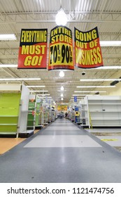 Manchester, N.H./USA - June 25, 2018: Sparse aisles of a Toys R Us store days before it was to close.