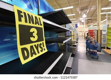 Manchester, N.H./USA - June 25, 2018: Shoppers hunt for bargains at a Toys R Us three days before it was scheduled to close.
