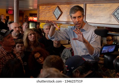 Manchester, N.H./USA - March 21, 2019: Beto O'Rourke speaks to voters at Consuelo's Taqueria during his first trip to New Hampshire as a presidential candidate.