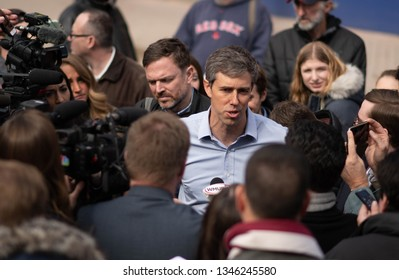 Manchester, N.H./USA - March 21, 2019: Beto O'Rourke speaks with reporters after a campaign stop at a Mexican restaurant.