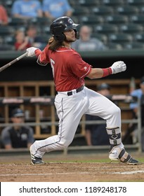 Manchester, N.H./USA - Sept. 5, 2018: New Hampshire Fisher Cats shortstop Bo Bichette bats during a playoff game against the Trenton Thunder.