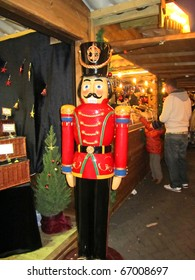 MANCHESTER - NOVEMBER 27 : Large nutcracker at the Christmas Market on November 27, 2010 in Manchester, England. Manchester Xmas Market a yearly market, over 200 stalls and a major tourist attraction