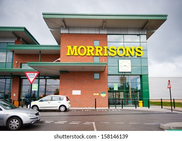 MANCHESTER, OPENSHAW - OCT 13: Morrisons Store on October 13, 2013 in Openshow, Manchester, UK. Morrisons is the UKs fourth largest food retailer with over 500 stores.